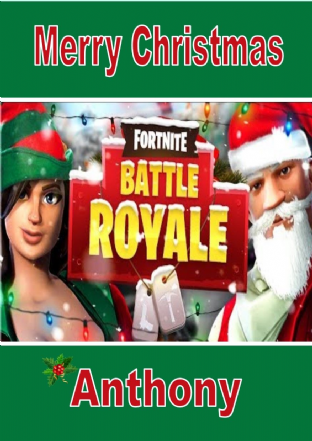 Personalised Fortnite Battle Royale Christmas Card Design 1